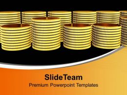 Stack Of Golden Coins Business Powerpoint Templates Ppt Backgrounds For Slides 0113