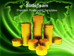 Stack Of Golden Dollar Coins Financial Business Powerpoint Templates Ppt Themes And Graphics