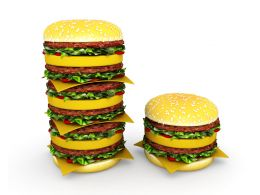 Stack Of Hamburgers Shows Health And Food Concept Stock Photo