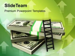 stack of money with a ladder powerpoint templates ppt themes and graphics 0213
