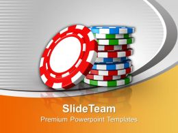 Stack Of Poker Chips Gambling Powerpoint Templates Ppt Themes And Graphics 0113