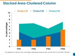 Stacked Area Clustered Column Powerpoint Slide Clipart