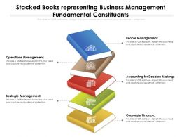 Stacked Books Representing Business Management Fundamental Constituents