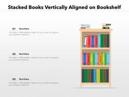 Stacked Books Vertically Aligned On Bookshelf