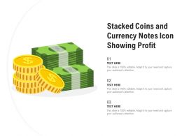 Stacked Coins And Currency Notes Icon Showing Profit