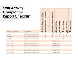 Staff Activity Completion Report Checklist