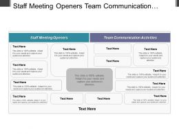 Staff Meeting Openers Team Communication Activities Marketing Strategies Implementation Cpb