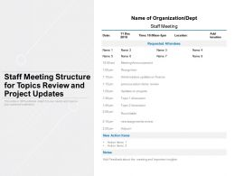 Staff Meeting Structure For Topics Review And Project Updates