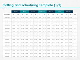 Staffing And Scheduling Brown Ppt Powerpoint Presentation File Slides