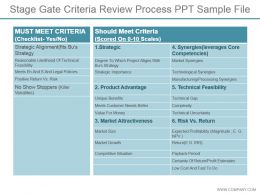 Stage Gate Criteria Review Process Ppt Sample File