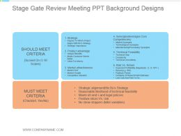 Stage Gate Review Meeting Ppt Background Designs