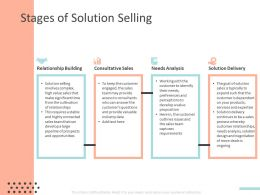 Stages Of Solution Selling Ppt Powerpoint Presentation Deck