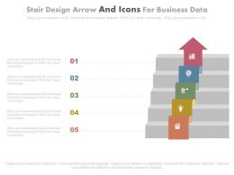 Stair Design Arrow And Icons For Business Data Powerpoint Slides