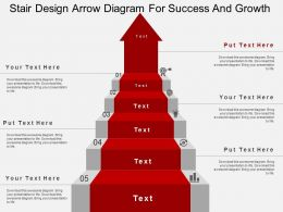 Stair Design Arrow Diagram For Success And Growth Flat Powerpoint Design