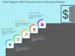 Stair Diagram With Financial Icons For Banking Solution Flat Powerpoint Design