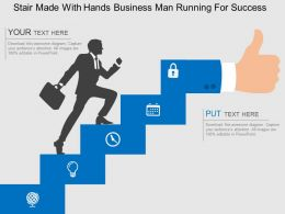 Stair Made With Hands Business Man Running For Success Flat Powerpoint Design
