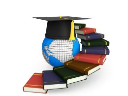 Stairs Made Of Books With Globe And Graduation Cap Stock Photo