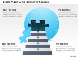 Stairs Made With Puzzle For Success Powerpoint Template
