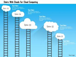 Stairs With Clouds For Cloud Computing Flat Powerpoint Design