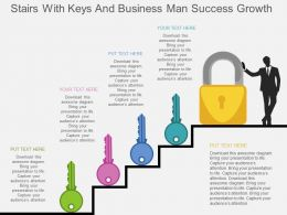 Stairs With Keys And Business Man Success Growth Flat Powerpoint Design