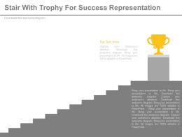 Stairs With Trophy For Success Representation Powerpoint Slides
