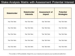 Stake Analysis Matrix With Assessment Potential Interest