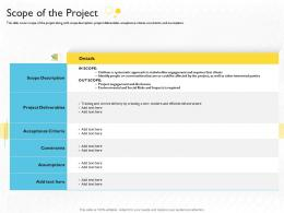Stakeholder Engagement Process Methods Strategy Scope Of The Project Ppt Professional Example