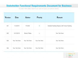 Stakeholder Functional Requirements Document For Business