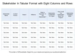 Stakeholder In Tabular Format With Eight Columns And Rows