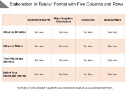 Stakeholder In Tabular Format With Five Columns And Rows