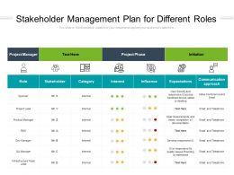 Stakeholder Management Plan For Different Roles