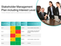 Stakeholder Management Plan Including Interest Level