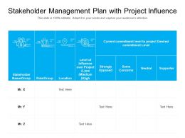 Stakeholder Management Plan With Project Influence