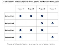 Stakeholder Matrix With Different Stake Holders And Projects