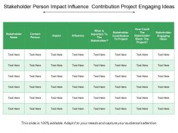 Stakeholder Person Impact Influence Contribution Project Engaging Ideas