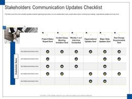 Stakeholders Communication Updates Checklist Engagement Management Ppt Formats