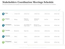 Stakeholders Coordination Meetings Schedule Firm Rescue Plan Ppt Powerpoint Presentation Summary Design