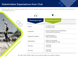 Stakeholders Expectations From Club On Field Ppt Powerpoint Presentation Icon Designs