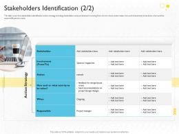 Stakeholders Identification Action Stakeholder Engagement Process Methods Strategy Ppt Grid