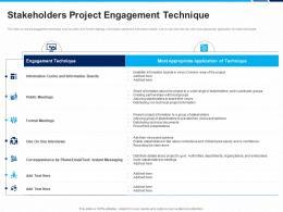 Stakeholders Project Engagement Technique Information Technique Ppt Formats