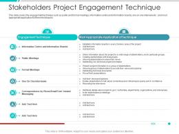 Stakeholders Project Engagement Technique Project Engagement Management Process Ppt Slides