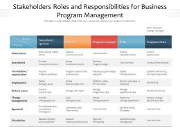 Stakeholders Roles And Responsibilities For Business Program Management