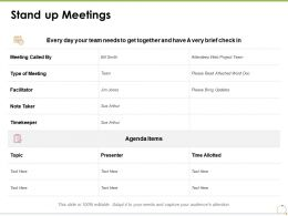 Stand Up Meetings Business Management Ppt Powerpoint Presentation Styles Show