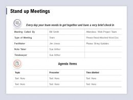 Stand Up Meetings Facilitator Ppt Powerpoint Presentation Infographics