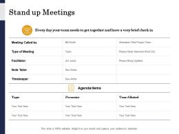 Stand Up Meetings Facilitator Ppt Powerpoint Presentation Portfolio Icons