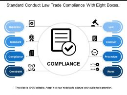 Standard Conduct Law Trade Compliance With Eight Boxes And Icons