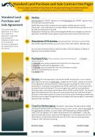 Standard Land Purchase And Sale Contract One Pager Presentation Report Infographic PPT PDF Document