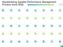Standardizing Supplier Performance Management Process Icons Slide Ppt Rules