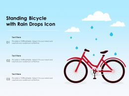 Standing Bicycle With Rain Drops Icon