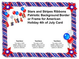 Stars And Stripes Ribbons Patriotic Background Border Or Frame For American Holiday 4th Of July Card